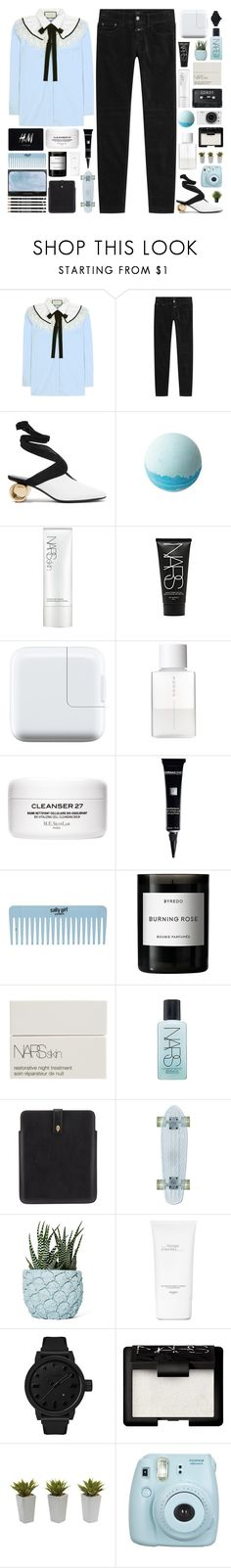 """""""You try to forget and you tell her that you miss her."""" by pure-and-valuable ❤ liked on Polyvore featuring Gucci, Closed, J.W. Anderson, NARS Cosmetics, SUQQU, H&M, Dermablend, Byredo, Alexander McQueen and Chen Chen & Kai Williams"""