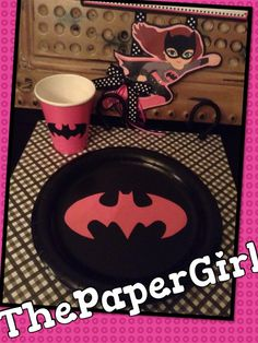 Hey, I found this really awesome Etsy listing at https://www.etsy.com/listing/193756011/16pc-batgirl-logo-lunch-dinner-party