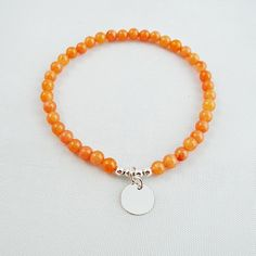 Sterling Silver Bracelet, Semiprecious Beads, Casual Bracelet, Orange Bracelet, Delicate Charming Bracelet, Unique Singular Copy Jewelry by modotikon on Etsy