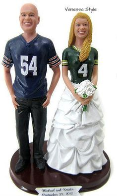 Football jersey wedding cake topper custom sculpted to look like the bride and groom.  Select any jerseys, numbers and names.  This one shows Chicago Bears and Green Bay Packers.