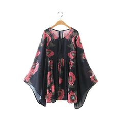 Keyhole Neckline Flower Print Long Sleeve Dress (49 CAD) ❤ liked on Polyvore featuring dresses, black, bell sleeve mini dress, long sleeve floral dress, long sleeve mini dress, sleeved dresses and mini dress