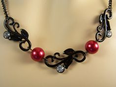 Black and Burgundy Necklace and Earrings by ArtOfAlice on Etsy
