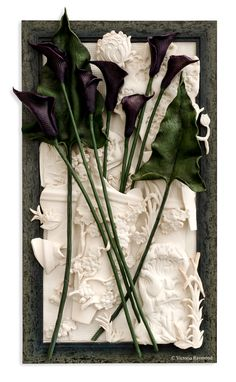 Polymer Clay- Dark Purple Calla Lilies, White Landscape with Broken Pottery