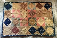 Antique 19th Century 1800/'s Brown Cotton Fabric Strip Quilt//Doll//Crafts