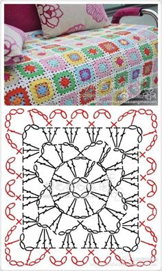 Crochet blanket patterns 185562447134116006 - New crochet granny square pattern mini Ideas Source by beadyjean Crochet Bedspread Pattern, Crochet Motifs, Crochet Quilt, Crochet Blocks, Granny Square Crochet Pattern, Crochet Diagram, Crochet Chart, Crochet Granny, Crochet Blanket Patterns