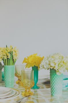 yellow, turquoise, and mint