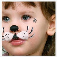 Simple face painting designs are not hard. Many people think that in order to have a great face painting creation, they have to use complex designs, rather then simple face painting designs. Puppy Face Paint, Dog Face Paints, Kitty Face Paint, Cat Face, Face Painting Designs, Paint Designs, Body Painting, Simple Face Painting, Kids Makeup