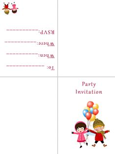 Kids Party Printable Invitations Free Printable Invitations, Printable Party, Party Invitations, Free Printables, Sign I, Kids, Young Children, Boys, Free Printable