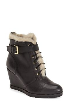 Free shipping and returns on kate spade new york 'tay' wedge bootie (Women) at Nordstrom.com. Supersoft faux fur trims a belt-cinched leather bootie lifted by a covered wedge heel and grounded by channeled rubber treads.