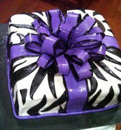 Purple zebra print cake!!