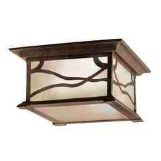 Kichler Lighting 9838DCO 2 Light Morris Flush Outdoor Close to Ceiling Light, Distressed Copper at ATG Stores