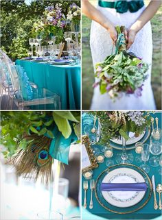Teal wedding ideas. I like the peacock feather.
