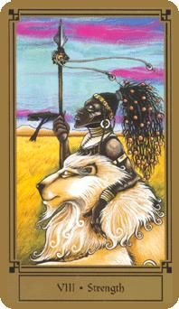 The meaning of Strength from the Fantastical Tarot deck: Balance your primal force with intution and compassion.