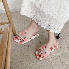 Notice: All shoes in our store is Asian size, its smaller then usual, so please focuse only for cm/inches length, measure it as picture above and choose size as your foot length! Cute Strawberry, Cute Fruit, Aesthetic Stores, Kawaii Fruit, Kawaii Shoes, Wedding Shoes Bride, Slipper Sandals, Fruit Print, Kawaii Fashion