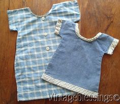 c1900 Authentic Primitive Antique Doll Dresses Great Display! Blue White Plaid C #Country #handmade