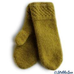 Tova votter - Spildra - Oliven Knitted Mittens Pattern, Knit Mittens, Knitted Hats, Knitting Patterns, Baby Mittens, Scarf Hat, Knitting Projects, Handicraft, Knit Crochet