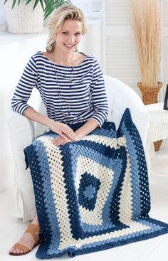 Crochet Granny Blues Lapghan~One large granny square is a perfect start for someone learning to crochet. You can mix it up with many different color schemes.