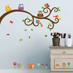 Owls and Friends Wall Decal Prints in a bedroom