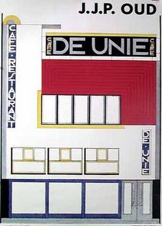 Café de Unie, 1925 - poster, printed by Hazan in France Bauhaus, Classical Architecture, Shapes, Design, Prints, France, Style, Poster, Collection