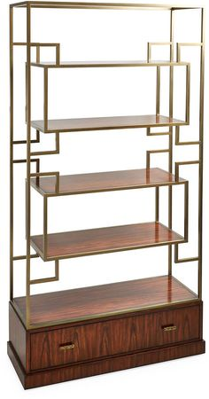 The gleaming brass frame of this étagère supports four shelves crafted of durable, richly figured Pacific walnut. The base is made of Pacific walnut as well; its drawer is accented with verdigris brass handles. Furniture > Displays, Cabinets & Storage > Etageres.