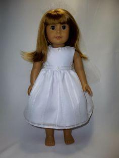 American girl doll communion dress and veil by CindyrellasCloset