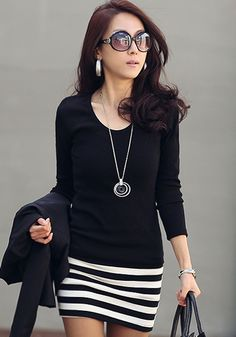 Black Patchwork Striped False 2-in-1 Long Sleeve Dress