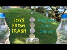 Today with the help of a strong Neodymium magnet and coins we will make a beautiful coin spinner. You will need 2 bottle filled with water, steel ruler, Neod...