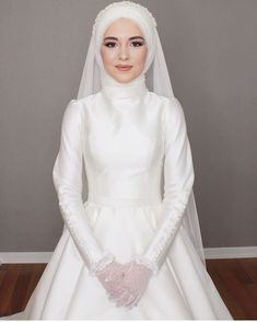 30 Wedding Hairstyles Ideas For Brides With Thin Hair ❤ wedd Hijab Wedding, Wedding Hijab Styles, Muslimah Wedding Dress, Bridal Hijab, Muslim Wedding Dresses, Elegant Wedding Dress, Dream Wedding Dresses, Lace Wedding Dress With Sleeves, Dresses With Sleeves