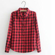 Shirts Plaid Streetwear Size Single Shirt BE66 Women Sale Hot Breasted Casual Women Blouse Plus Blouses Long Cotton Shirt Wild