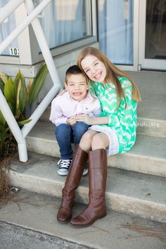 Chevron mint dress was perfect! Outdoor photo session! Sibling love!