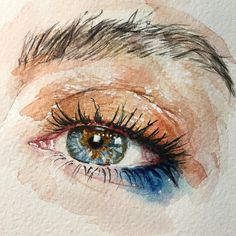 Cute Paintings Ideas On Calculator Watercolor Eyes, Watercolor Portraits, Watercolor Illustration, Art And Illustration, Illustrations Posters, Pencil Art Drawings, Art Drawings Sketches, Aesthetic Drawing, Aesthetic Art