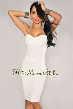 Ivory Strapless Knee Length Bandage Dress. http://www.hotmiamistyles.com