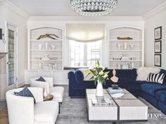 Color Pop Blue Velvet Sofa in White Living Room - Luxe Interiors + Design Living Room Chairs, Living Room White, Interior Design, Blue Sofas Living Room, Blue And White Living Room, Couches Living Room, Living Room Sets, Modern Glam Living Room, Velvet Living Room