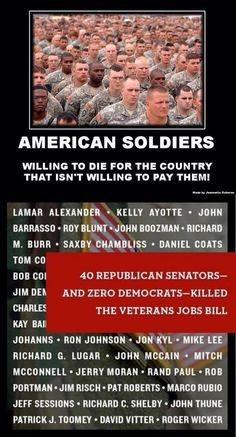 We owe veterans the veterans job bill, vote. VOTE the DO NOTHING GOP OUT!