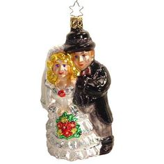 Bridal Couple Christmas Ornament 220905 Inge-Glas of Germany *Ornament does not come in a box Bride and groom ornament. Made of European mouth blown, hand painted glass in Germany.