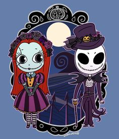 "Halloween Jack and Sally Nightmare Before Christmas 8""x10"" Digital Art Print"