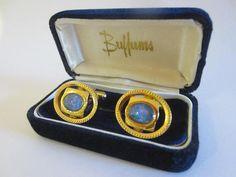 Buffums Opal Golden Mid Century Modern Oval Cufflinks