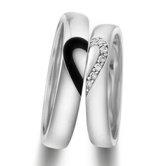 Personalized Engravable Half Heart Wedding Rings for Couples