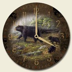 Keeping Watch Black Bears 12-inch Decorative Wood Wall Clock by Highland Graphics,$22.99