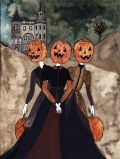 Mistresses of Pumpkin Hill Original Watercolor Fine Art Print Halloween Town, Vintage Halloween, Halloween Inspo, Watercolor Paper, Watercolor Paintings, Art Paintings, Autumn Aesthetic, Fall Pictures, Halloween Pictures