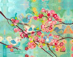 Cherry blossom birdies canvas- replicate something like this for the girls' room