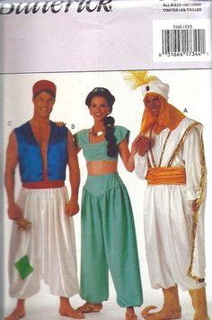 UNCUT Butterick Vintage Sewing Pattern Halloween Costume Genie Alladin  Sultan FF  2719bd9afb965