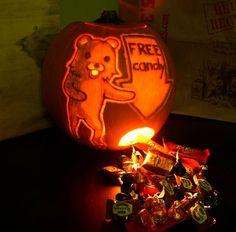 Scariest pumpkin ever -  Pedobear.