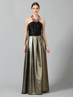 so different. reem acra lurex wool box pleat skirt.