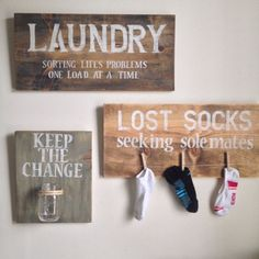 """Add a cute touch to any laundry room with these unique signs. Keep the Change, Seeking Sole Mates and """"Laundry"""" sign. The sole mates and laundry sign are x 11 The change jar is 7 10 Clothes pins not included Home Decor Sites, Cheap Home Decor, Diy Home Decor, Laundry Sorting, Change Jar, Lost Socks, Laundry Signs, Laundry Room Storage, Laundry Rooms"""
