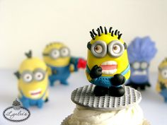 Finished Fondant Minion on Cupcake, Others in Background