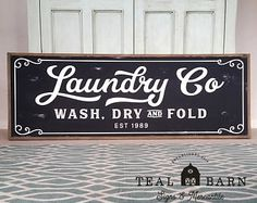LAUNDRY SIGN Laundry Co Sign Wash Dry and Fold Sign