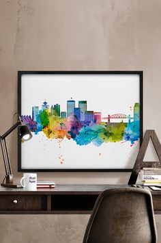 Vancouver skyline watercolor Vancouver Art Print by iPrintPoster