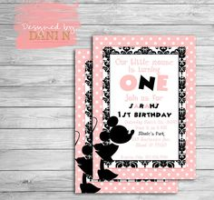 Minnie Mouse Birthday Invitation, pink minnie party invite, pink and black, first birthday, any age, paris style minnie, elegant printable
