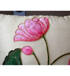 Buy Indian embroidery work cushions online in Norway and Sweden Hand Embroidery Designs, Diy Embroidery, Embroidery Patterns, Saree Painting Designs, Fabric Paint Designs, Lotus Painting, Texture Painting On Canvas, Bed Sheet Painting Design, Fabric Painting On Clothes